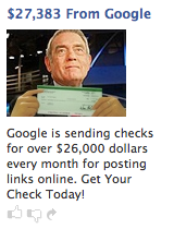 [Facebook ad showing Dan Rather holding the same badly-pasted money]