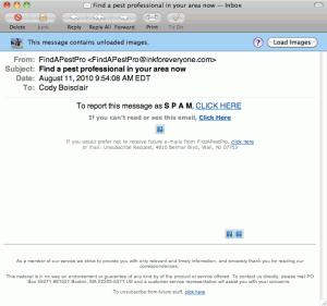 Screenshot of pest control spam.