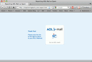 "Screenshot of a browser window with an AOL logo and text reading ""Thank you! Please click the link to the right to return to your AOL Webmail."""